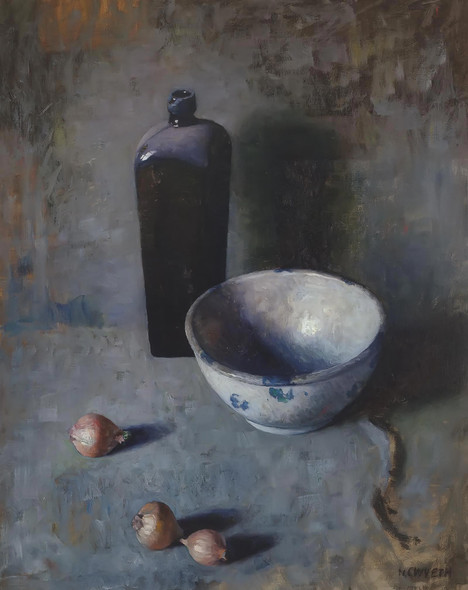 Still Life With Bowl Onions And Bottle by Nc Wyeth