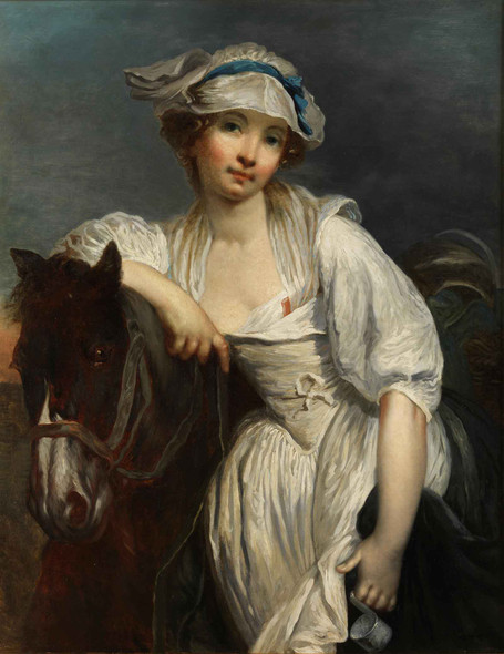 Young Girl Leaning On The Neck Of A Horse by Jean Baptiste Greuze