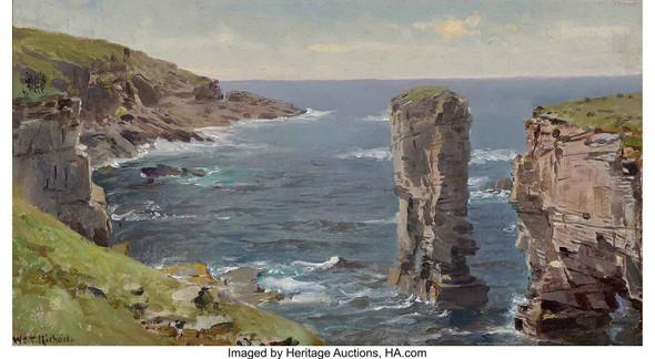 British Coastal View (Coast Of Cornwall) Circa 1880 by William Trost Richards
