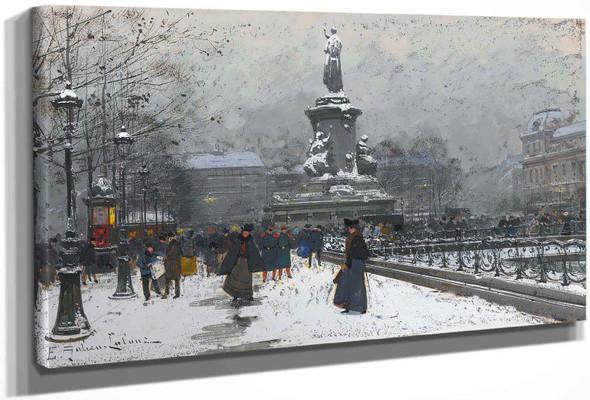 La Place De La Republique (Neige) by Eugene Galien Laloue