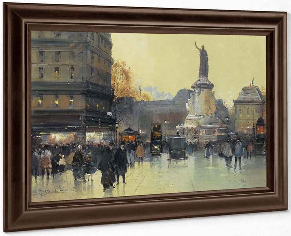 Place De La Republique Paris by Eugene Galien Laloue