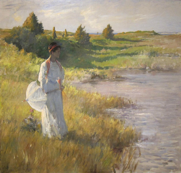An Afternoon Stroll Oil On Canvas Painting By William Merritt Chase by William Merritt Chase