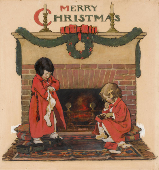 Merry Christmas Two Children Before The Fireplace by Jessie Willcox Smith