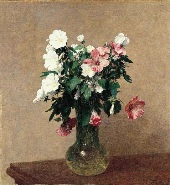 White And Pink Mallows In A Vase By Henri Fantin Latour by Henri Fantin Latour