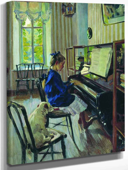Girl At The Piano By Sergei Arsenevich Vinogradov Russian 1869 1938
