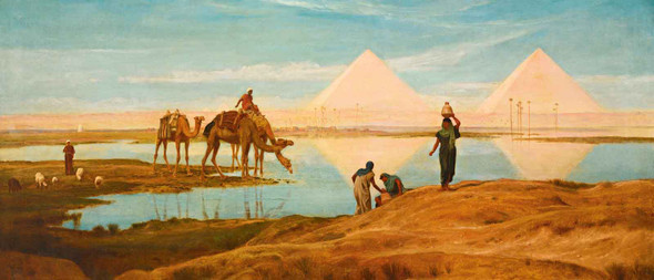 The Light Of The Rising Sun Upon The Pyramids Of Ghizeh by Frederick Goodall