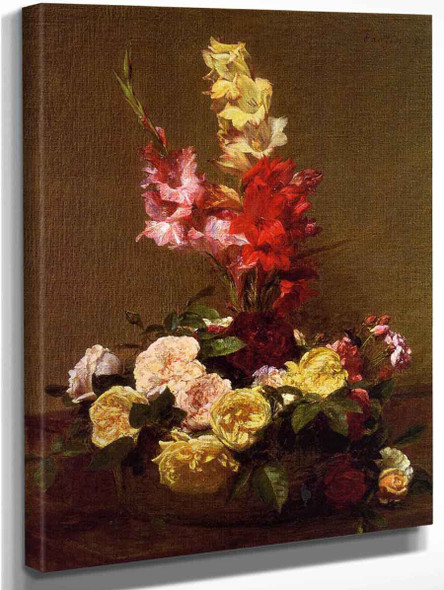 Gladiolas And Roses By Henri Fantin Latour By Henri Fantin Latour