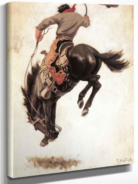 Man On A Bucking Bronco by Nc Wyeth