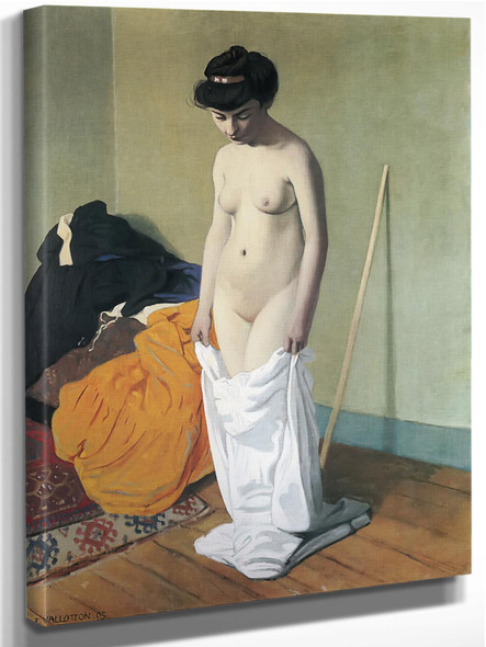 Nude Holding Her Gown by Felix Valletton