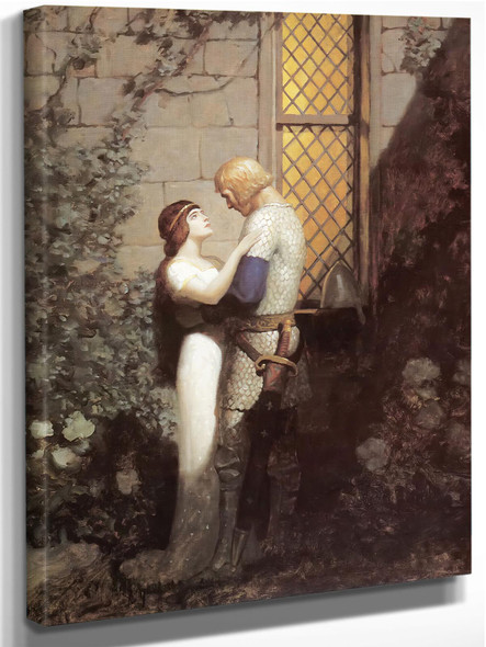 Sir Tristam And La Belle Isolde In The Garden by Nc Wyeth