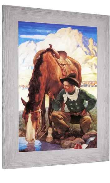 Cowboy Watering His Horse Nc Wyeth
