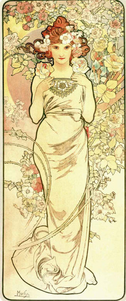 The Flowers Rose by Alphonse Mucha Fine Art Print