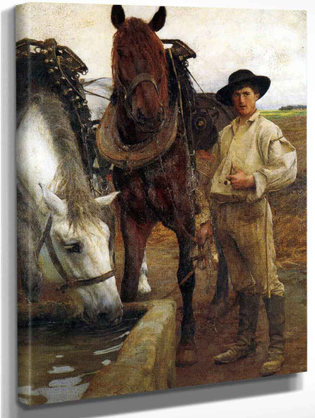 Horses At The Watering Trough By Pascal Dagnan Bouveret