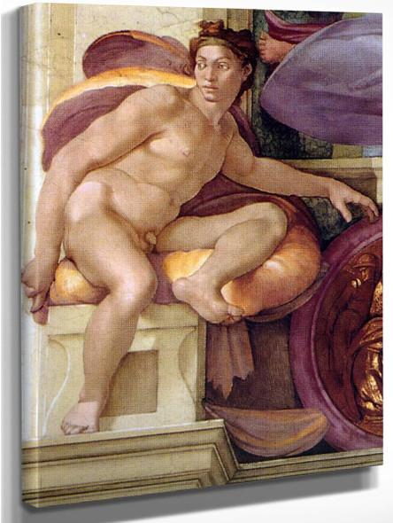 Ignudo`2 By Michelangelo Buonarroti By Michelangelo Buonarroti