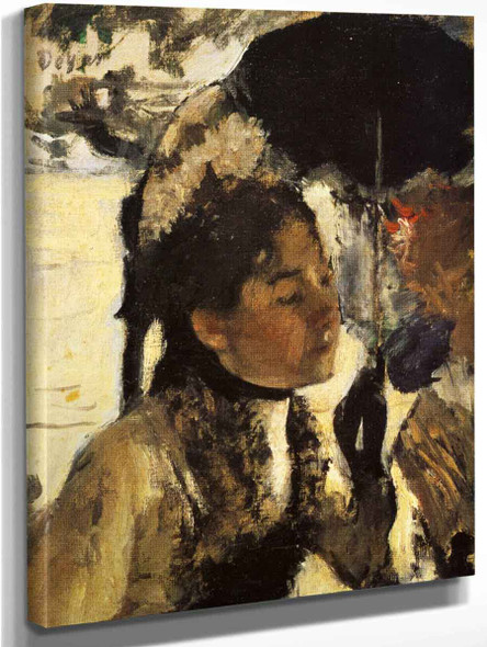In The Tuileries, Woman With A Parasol By Edgar Degas