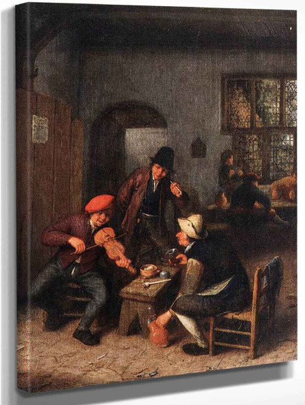 Interior Of A Tavern With A Violin Player By Adriaen Van Ostade By Adriaen Van Ostade