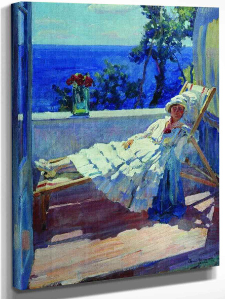 Lady On The Balcony By Sergei Arsenevich Vinogradov Russian 1869 1938