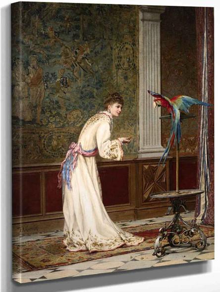 Lady With A Parrot By Frederik Henrdik Kaemmerer