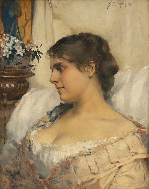 Young Woman In Her Boudoir By Albert Edelfelt