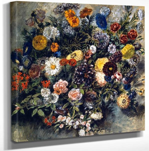 Bouquet Of Flowers By Eugene Delacroix Art Reproduction