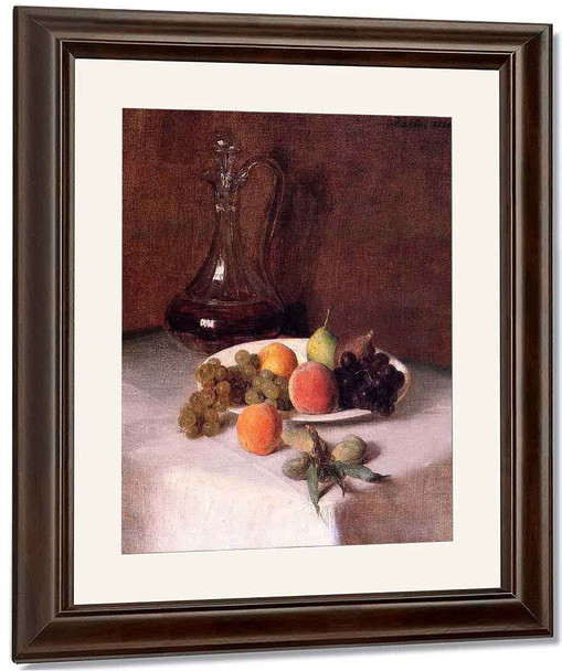 A Carafe Of Wine And Plate Of Fruit On A White Tablecloth By Henri Fantin Latour By Henri Fantin Latour