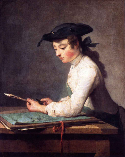 The Young Draughtsman By Jean Baptiste Simeon Chardin By Jean Baptiste Simeon Chardin