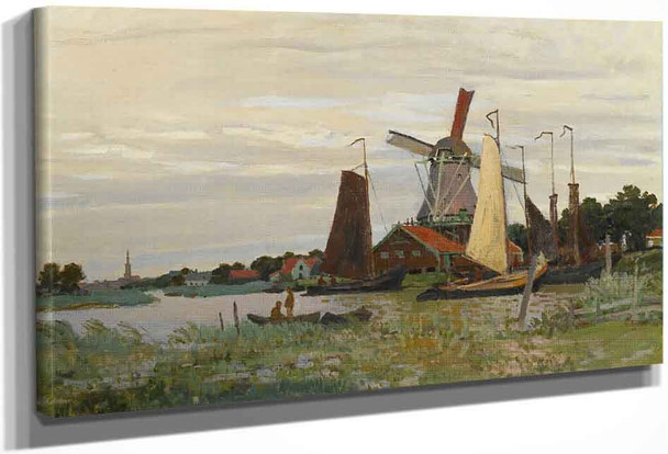 A Windmill At Zaandam By Claude Oscar Monet