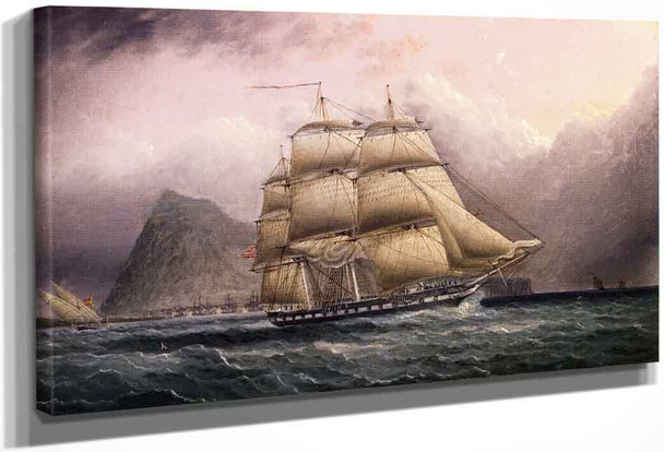 American Frigate Off Gilbraltar By James E. Buttersworth