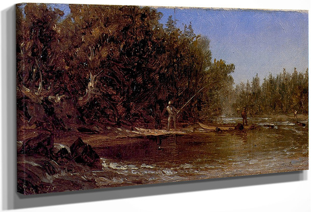 Anglers By A Trout Stream By Sanford Robinson Gifford