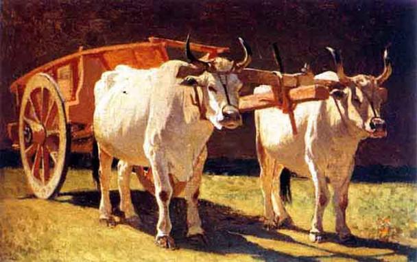 Oxen And Cart By Giuseppe Abbati By Giuseppe Abbati
