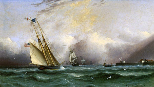 Schooner Columbia Off Portsmouth Harbor, England By James E. Buttersworth