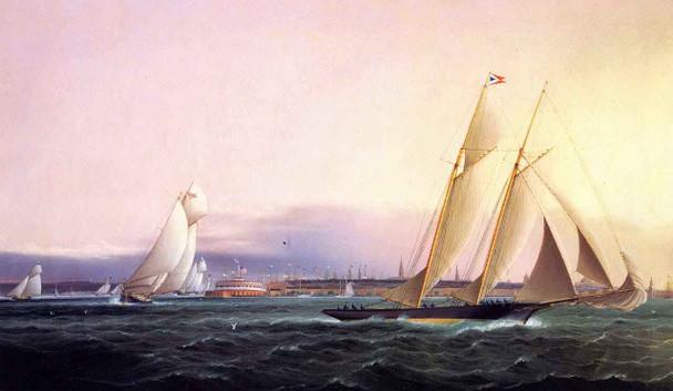 Schooner Resolute Leading The Fleet Around Castle Garden By James E. Buttersworth