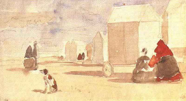 The Beach Huts By Eugene Louis Boudin