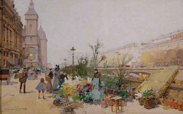 The Flower Market By Eugene Galien Laloue