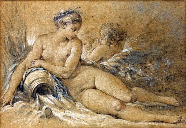 Woman With An Urn And Two Putti By Francois Boucher