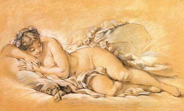 Young Woman Sleeping By Francois Boucher