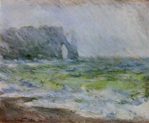 Etretat In The Rain By Claude Oscar Monet