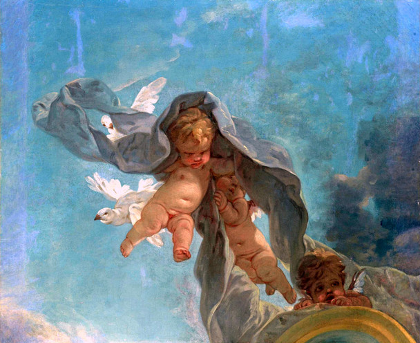 Putti With Doves  By Francois Boucher