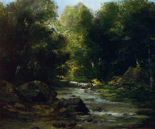 River Landscape By Gustave Courbet By Gustave Courbet