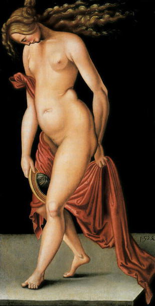 Nude Woman Holding A Mirror  By Hans Baldung Grien By Hans Baldung Grien