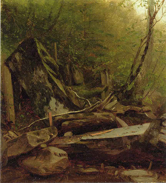 A Study Of Rocks At Kauterskill Cove By Sanford Robinson Gifford By Sanford Robinson Gifford