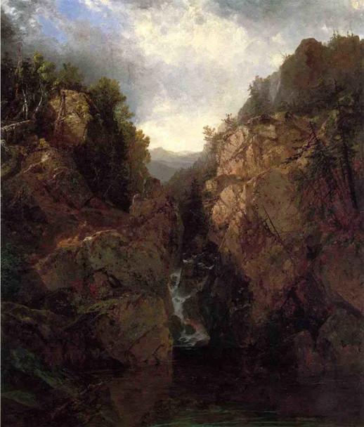 A Woodland Waterfall By John Frederick Kensett By John Frederick Kensett