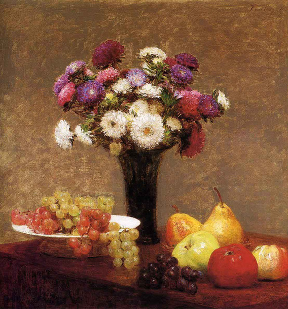 Asters And Fruit On A Table By Henri Fantin Latour By Henri Fantin Latour