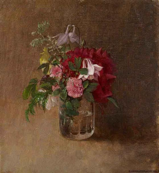 Flowers In A Glass By Albert Edelfelt