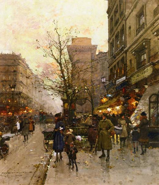 La Porte Saint Denis, Paris By Eugene Galien Laloue