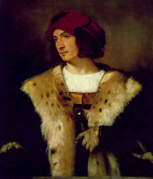 Portrait Of A Man In A Red Cap By Titian