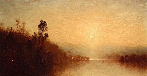 View Of Lake George By John Frederick Kensett By John Frederick Kensett