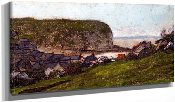 Yport And The Falaise D'aval By Claude Oscar Monet