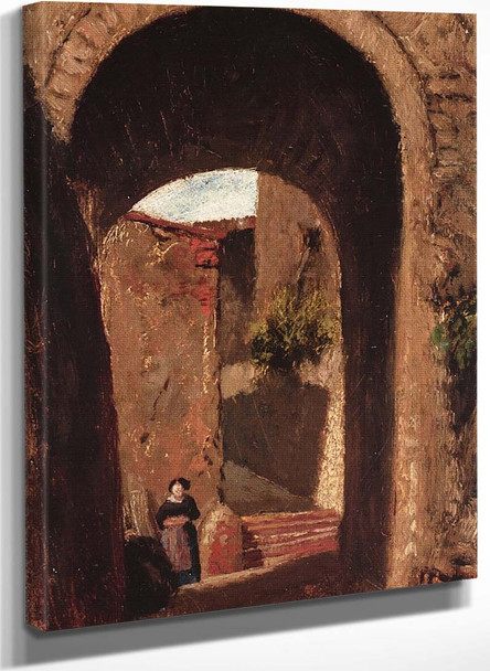 Archway With Woman By Elihu Vedder