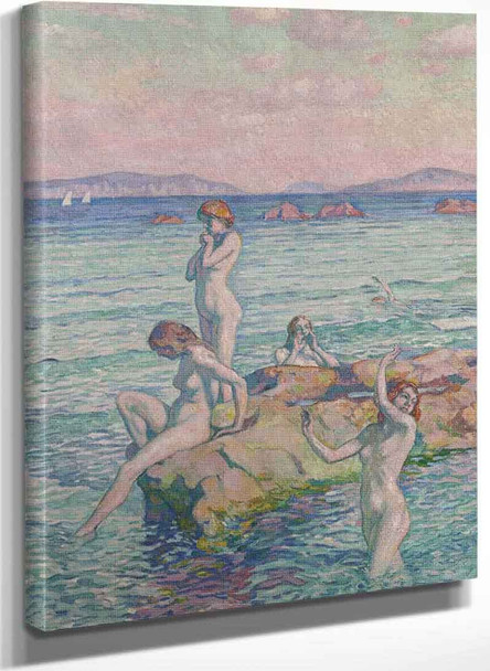 Bathers On The Rocks By Theo Van Rysselberghe